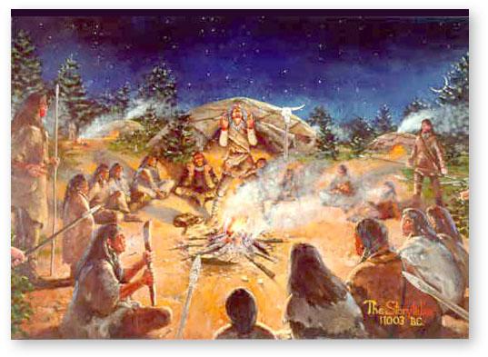Indian Camp at Night